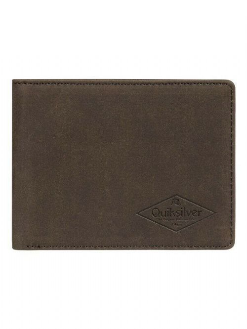 QUIKSILVER MENS WALLET.NEW SLIM VINTAGE III FAUX LEATHER BROWN MONEY PURSE 9W 8C
